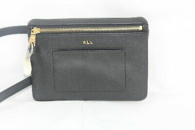 Ralph Lauren Winston  Women Fanny Pack Belt Bag Gold/Black Leather Size L $98 Winston Black Leather