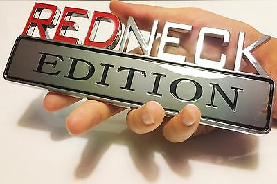 REDNECK EDITION truck JEEP car EMBLEM LOGO DECAL SIGN CHROME RED NECK *NeW* (1998 Jeep Grand Cherokee Parts)