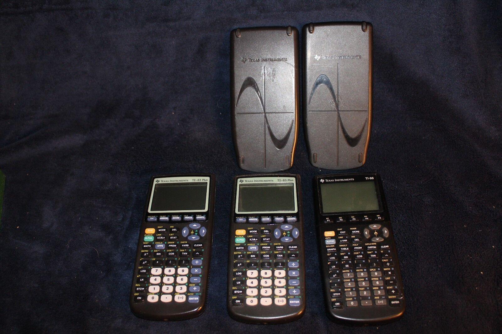 2 TI-83 Plus and 1 TI-86 Calculator - bad screens, for parts/repair