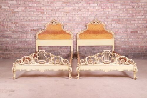Romweber French Rococo Louis XV Burl Wood and Parcel Painted Twin Beds, Pair