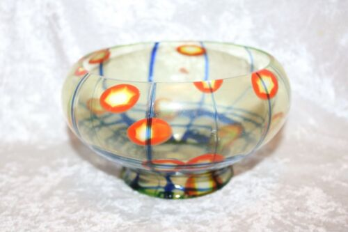 TS Antique Kralik Czechoslovakian Vaseline Bulls Eye Footed Bowl!