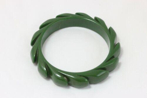 Rare Vintage Bakelite Forest Green Carved Bangle Bracelet