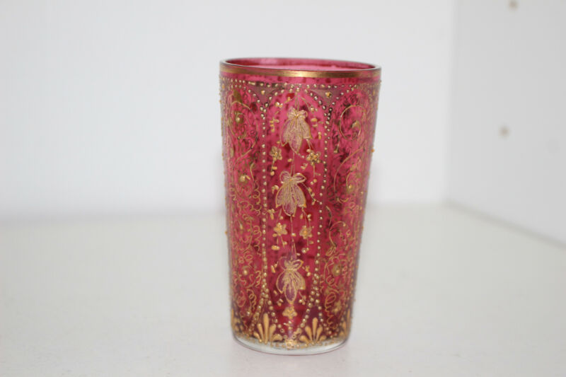 "ANTIQUE HAND PAINTED VICTORIAN 3-5/8"" CRANBERRY GLASS VODKA TUMBLER-GOLD-MOSER"