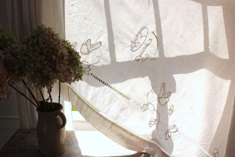 Linen vintage sheet French cotton 79 X112in fabric material OL monogram white