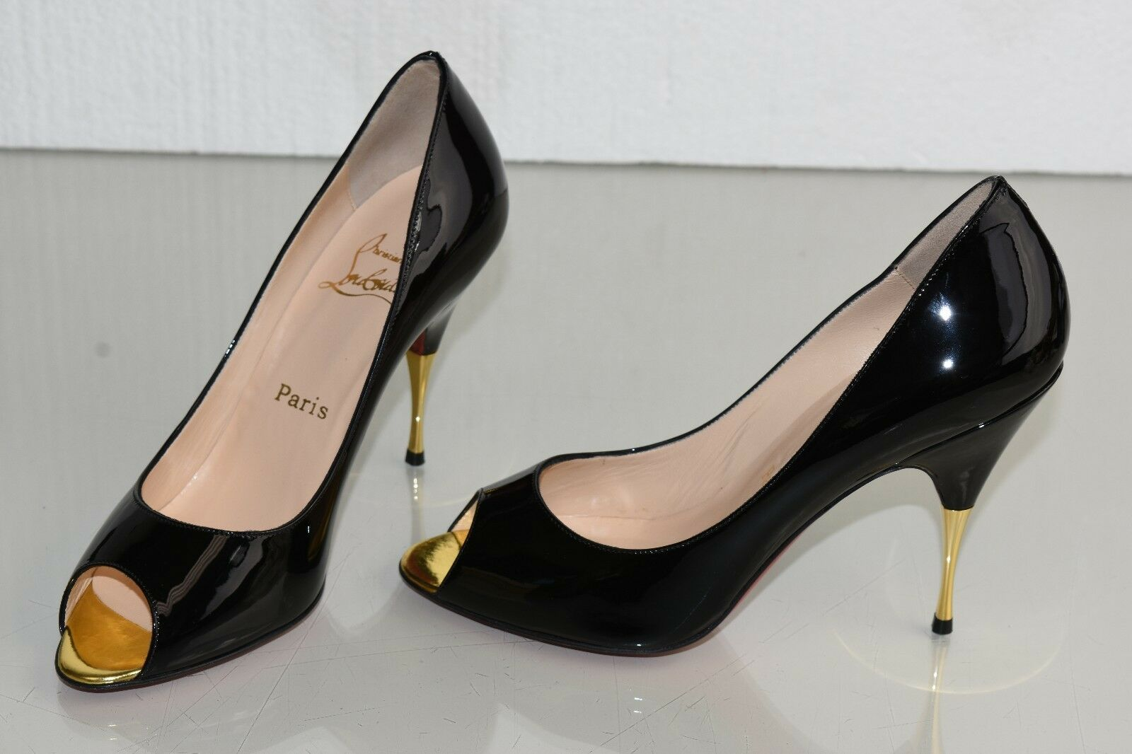 NEW Christian Louboutin YOYOSPINA 100 Black Patent Leather Pumps Shoes 38