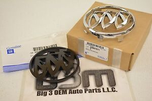 2011-2013 Buick Regal Front Grille Chrome Emblem and Adapter Tri Shield new OEM