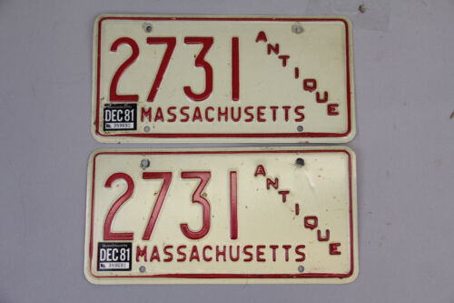MASSACHUSETTS ANTIQUE 2731  LICENSE PLATE PAIR 1981 RED WHITE VINTAGE RETRO CAR