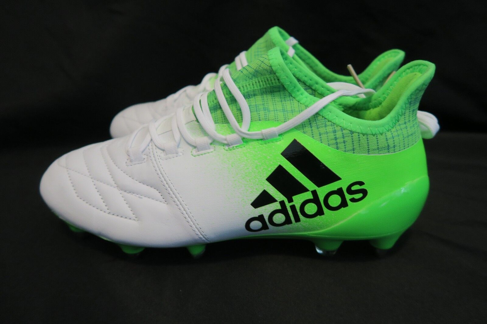 ADIDAS X 16.1 LEATHER SG SOCCER CLEATS BOOTS WHITE SOLAR GRE