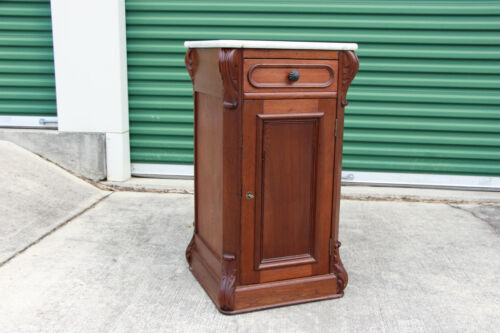 Fine Unusual Walnut Victorian Marble Top Tall Cabinet Nightstand ~ Ca.1870