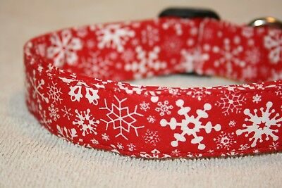 Red Snowflakes Christmas Winter Dog & Cat Collars & Martingales & Leashes - Red Snowflakes