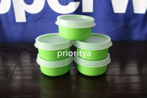 Tupperware 1oz Smidgets Pill Dressing Container Set of 5 Green New in Package