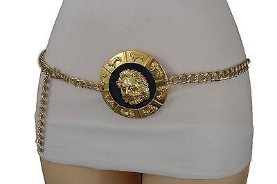 Women Fashion Belt Thick Gold Metal Chain Link Big Lion Buckle Plus Size M L XL ()