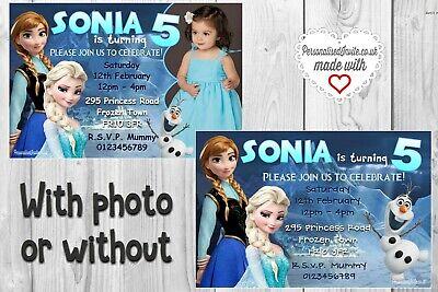 10 Frozen Invitations / Invites. Ice kingdom themed birthday party. Personalised](Frozen Theme Invitation)