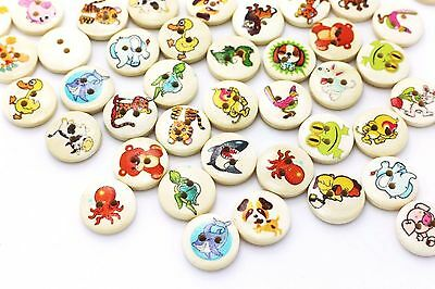 Animal Wood Button Mix Lots Tiger Dog Lion Fish Children Baby DIY 15mm 20pcs