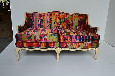 Vintage Settee Upholstered in Hand Painted Ralph Lauren Duchess Silk pink 400/yd