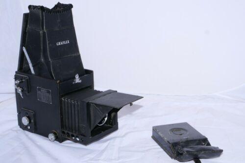 "R.B. Graflex Series D 4x5 camera with 7"" f4.5 Ektar lens. Cut film magazine."
