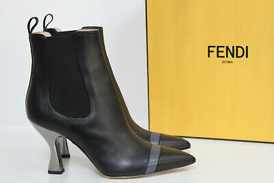 New sz 8 / 38 Fendi Black Leather Colibri Leather Ankle Boots Curved Heel Shoes