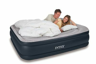 Intex Queen Deluxe Pillow Rest Raised Airbed Air Mattress Bed w/ Pump 64135E