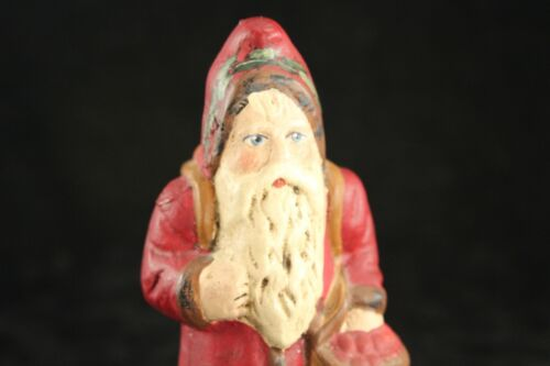 "Folk Art Old World Chalkware 4¼"" Santa Walnut Ridge Collectibles 1997 Signed"