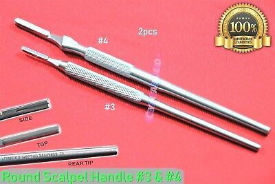 2ea Scalpel Handle Blade Holder Round With Grip German Premium Surgical 3 4