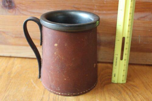 Vintage Leather Beer Mug tankard Made in England real hide 1443 Antique holder