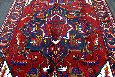 11X7 1960s EXQUISITE ELEGANT MINT ANTIQUE HAND KNOTTED HERIZZ GEOMETRIC WOOL RUG