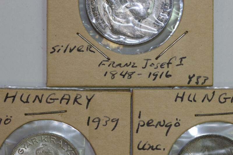 1910-1930s Lot of 3 Uncirculated Silver Hungary Korona & Pengo Coins (NUM3672)