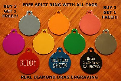 Custom Engraved DOUBLE SIDED Tag Pet ID  CIRCLE  DOG CAT