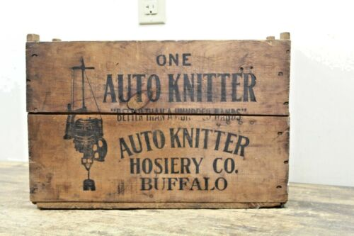 Antique Vintage Wood Sock Auto Knitter Crate Box- Buffalo NY- Textile Shipping