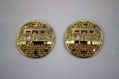 (10K Yellow White Gold Last Supper Earrings Round Dome Diamond Cut Filigree)