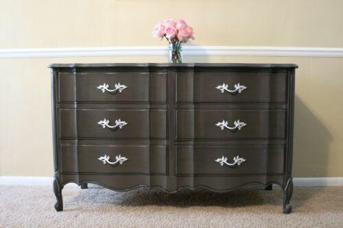 Vintage Dixie French Provincial Style 6 Drawer Dresser Dark Gray Elegant Buffet