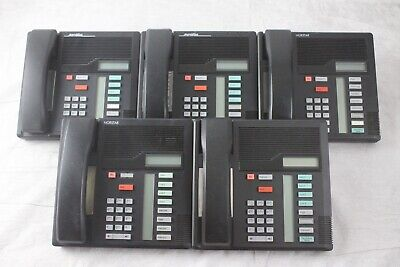 Lot of 5 Nortel M7208 Business Office Telephones Blk W/ Stands and Handsets