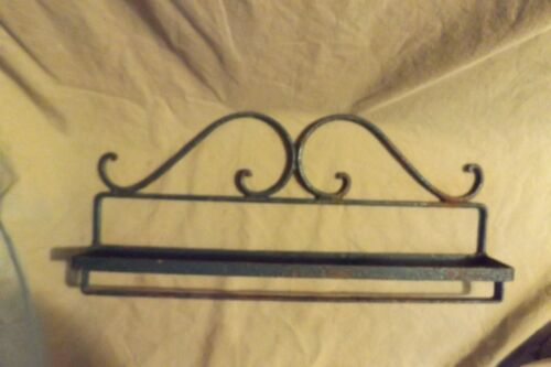 Antique Primitive Iron Painted Wall Shelf Country Kitchen