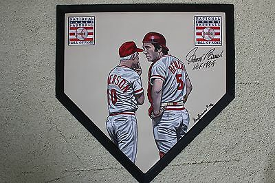 Johnny Bench Sparky Anderson Reds HOF signed Hand Painted MLB Homeplate LOA JSA