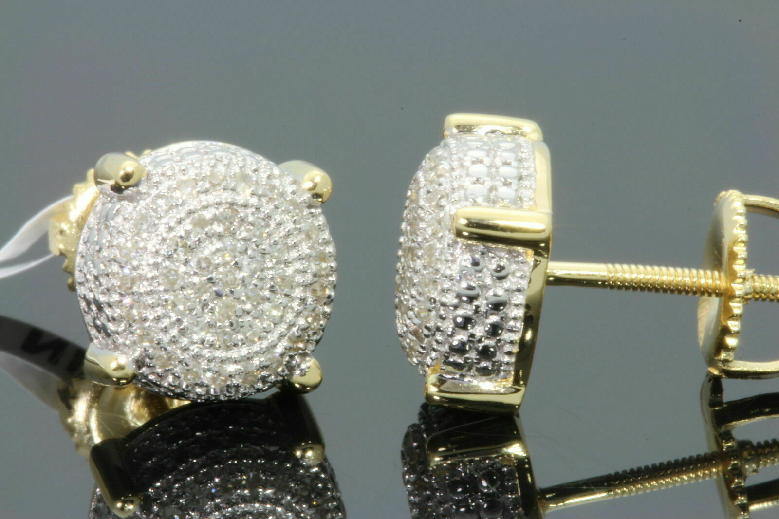 .23 CARAT YELLOW GOLD FINISH MENS WOMENS 8mm 100% REAL DIAMONDS EARRINGS STUDS