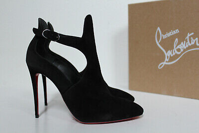 New sz 8.5 / 38.5 Christian Louboutin Canadada Black Almond Toe Ankle Boot Shoes