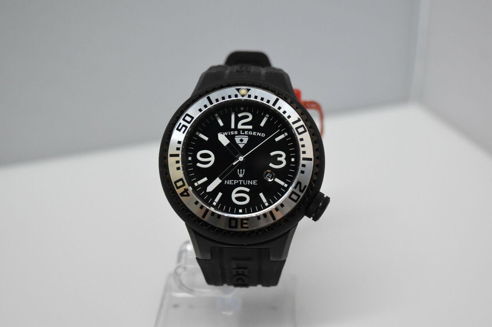 Swiss Legend Neptune Swiss Oversized 52mm Watch All Black/SS