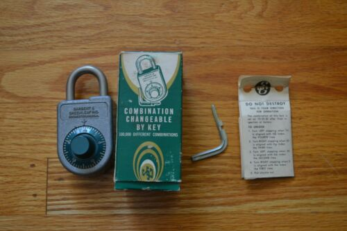 Vintage Sargent & Greenleaf Key Changing Combination Padlock 8088 Original