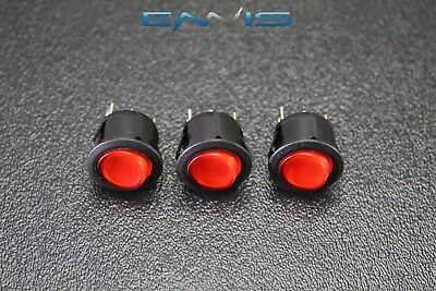 3 Pcs Round On Off Rocker Switch Mini Toggle Red Led 34 Mount Hole Ec-1215rd