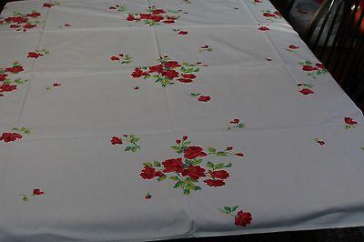 Vintage Cotton Kitchen Tablecloth w Roses 50x52 Wilendur