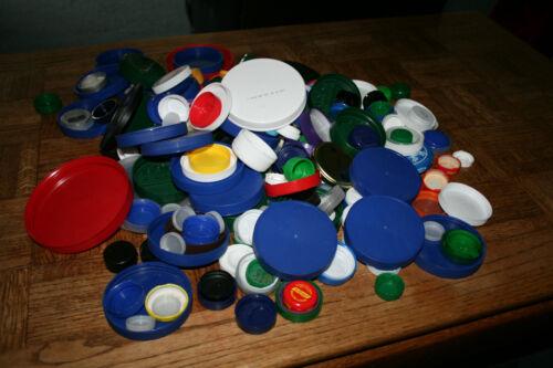 Lot of 300 Multi-Color Plastic Tops Bottle Caps Arts Crafts Hobbies