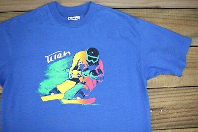 VTG 80's 1986 Utah Neon Letter Skier T-Shirt L Snowboarding Skiing Snow