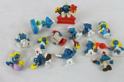 14 Vintage Super Smurf Lot Collection Schleich Peyo 1970s 80s Papa Smurfette Old