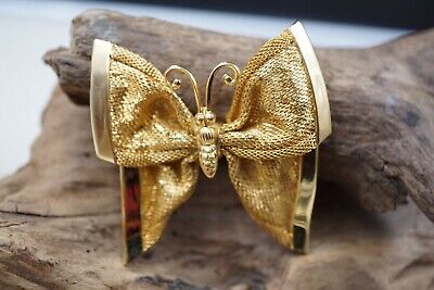 Vintage Napier GORGEOUS Butterfly Mesh wings Gold tone Brooch Napier Gold Tone Brooch