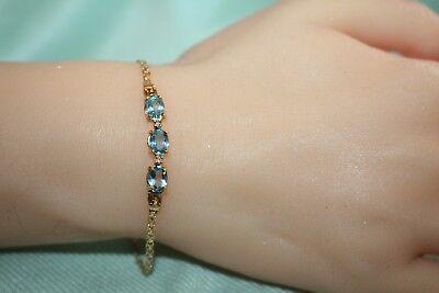 (Blue Topaz & Diamond 14k Gold FANCY LINK Bracelet, 7 1/2
