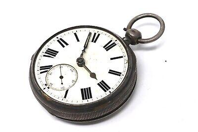 Antique Victorian C1882 Solid Silver Fusee Key Wind Pocket Watch Spares #27388