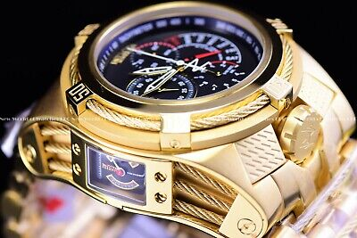 Invicta Men's 56mm Bolt Zeus Tria Gold Plated Stylish Choronograph Swiss Watch