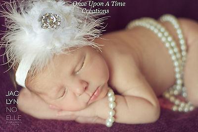 White Feather Shabby Flower Newborn Headband - Baby Girl Christening Hair Bow