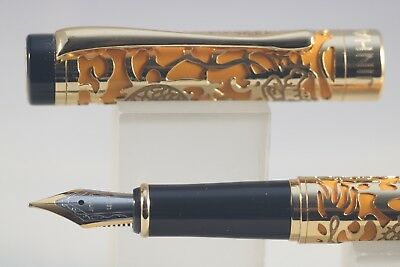 Jinhao No. 5000 Series Fountain Pen Mustard Lacquer with Gold Plated Overlay