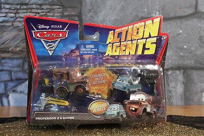 Disney Pixar Cars 2 Action Agents Professor Z And Mater Launcher Cars NIB